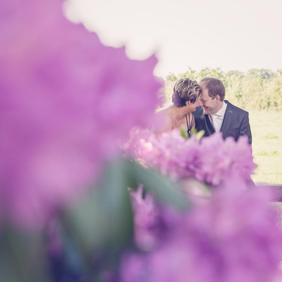 doorkijkje door rhododendron trouwfoto geesteren