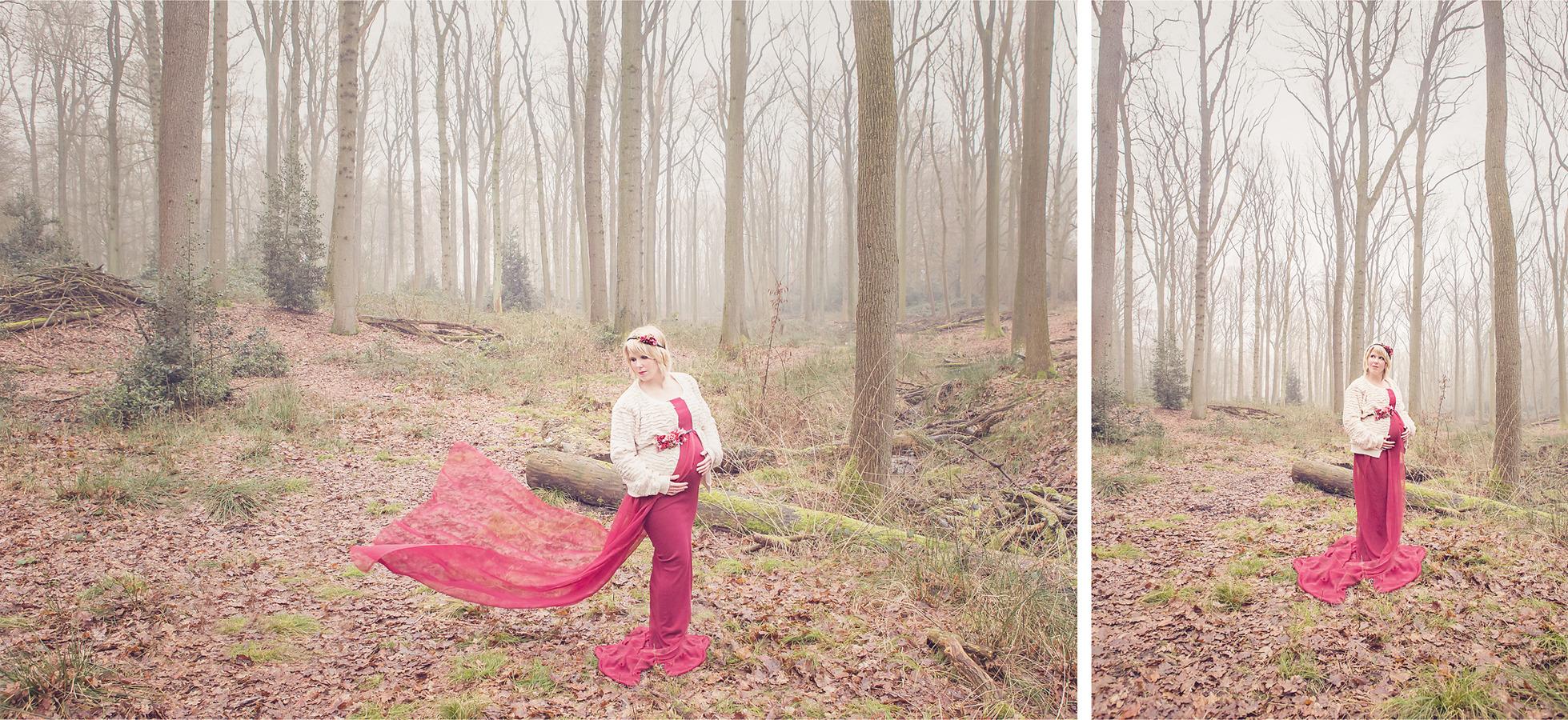 zwangerschapsshoot bos oldenzaal met mooie zwierige exclusieve  jurk